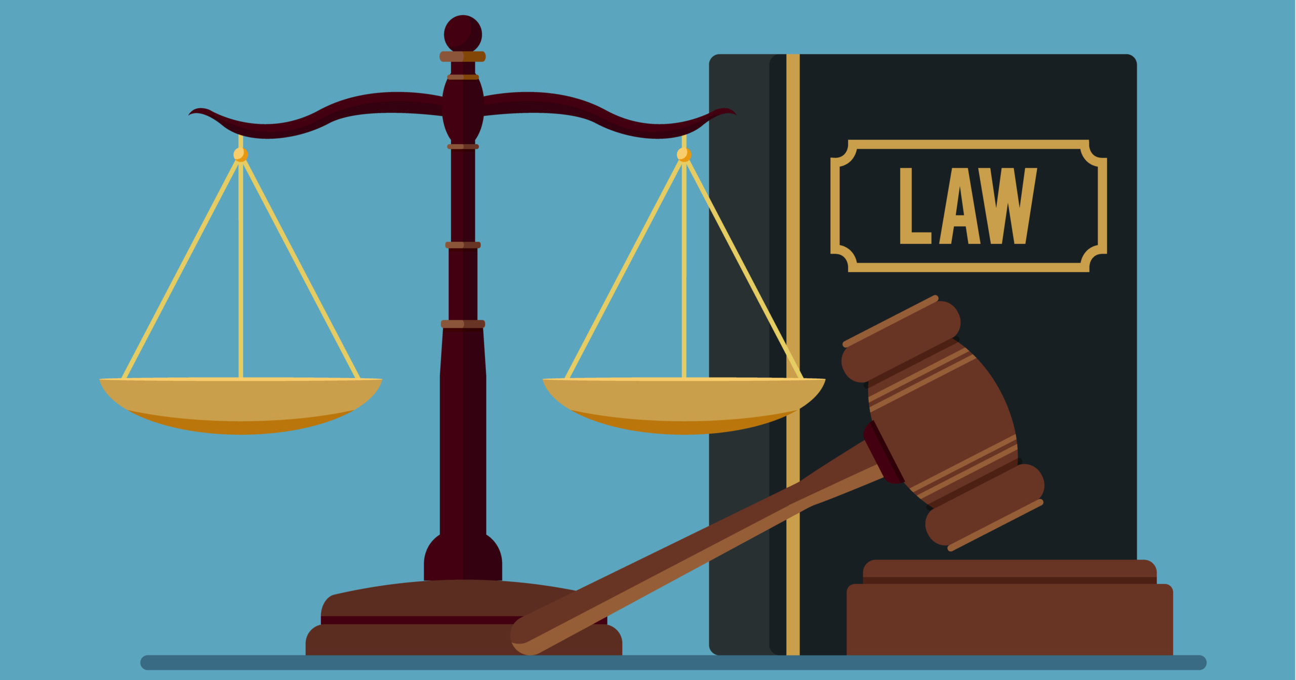 Law and justice concept isolated on blue background.