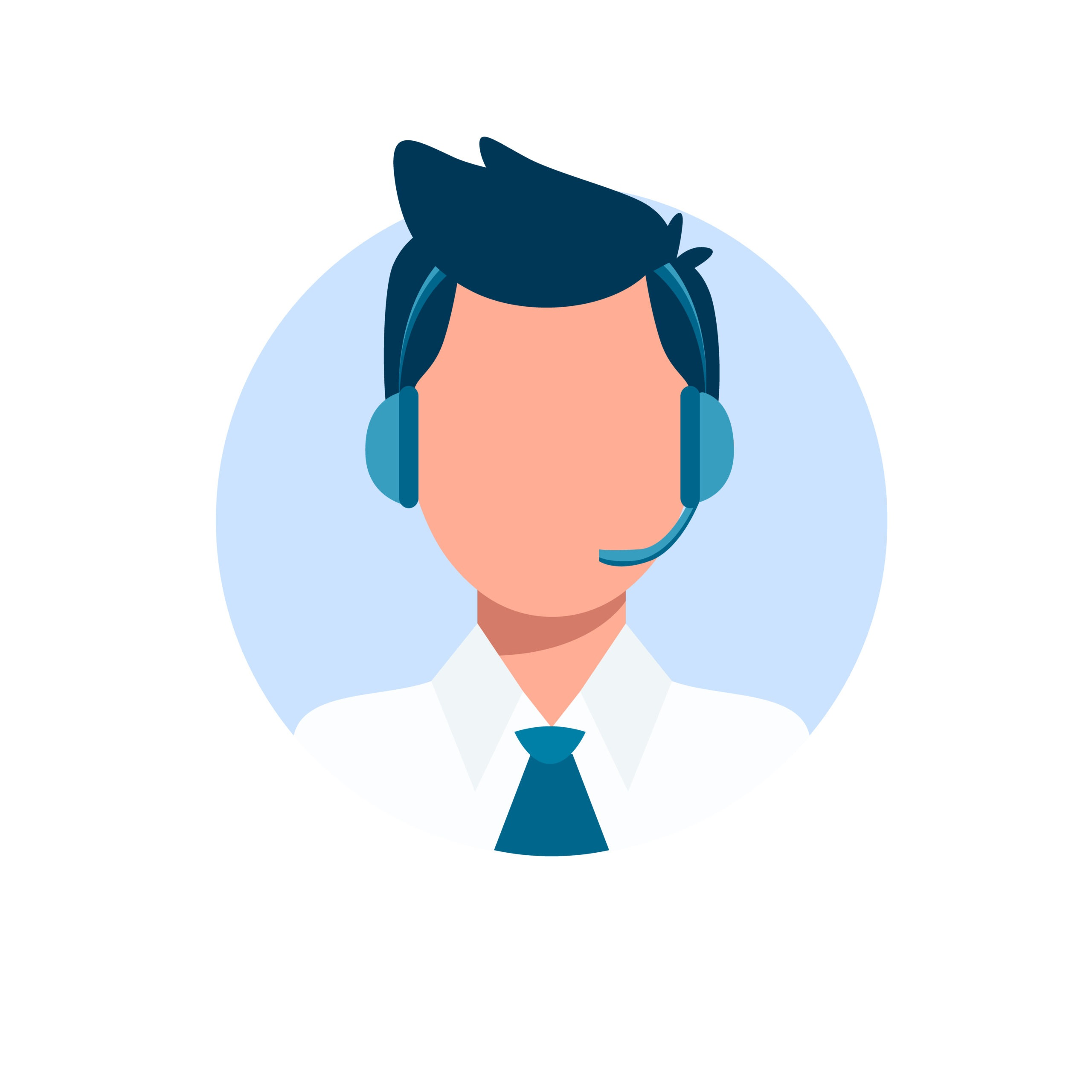 Man wearing headsets conceptual of client services and communication.