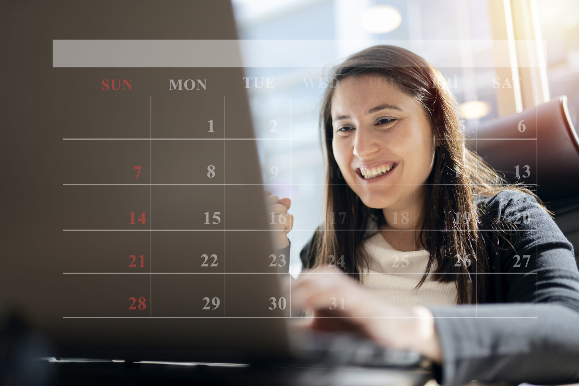 Calendar and business people