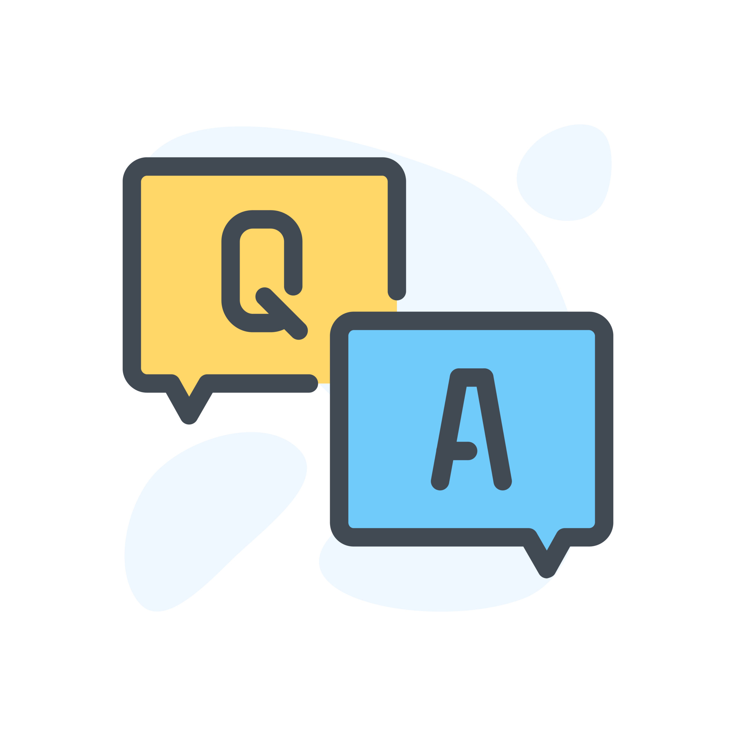 Question and Answer color outline illustration. Help and FAQ vector illustration on the white background.